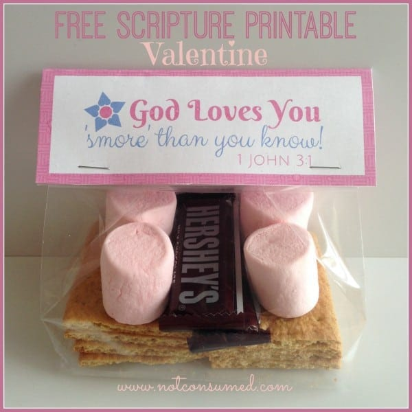 Free Scripture Printable S'MORES Valentine.