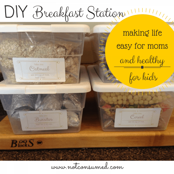 DIY Breakfast station...making life easy for mom and healthy for the kids. 60+ days of self-serve br