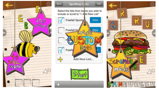 Finally a spelling app to the rescue. Custom lists or let the app decide. Many fun ways to practice!