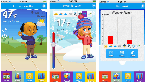 Love this weather app. Teaches kids what to wear, how to graph, and more.