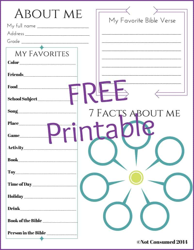All about me free printable faith based for About me template for students