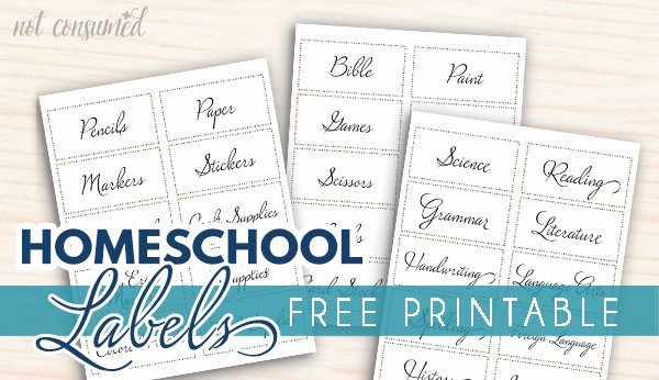 Printable Labels For Homeschool Supplies