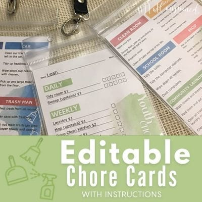 Free Printable Chore Cards for Kids (you can edit)