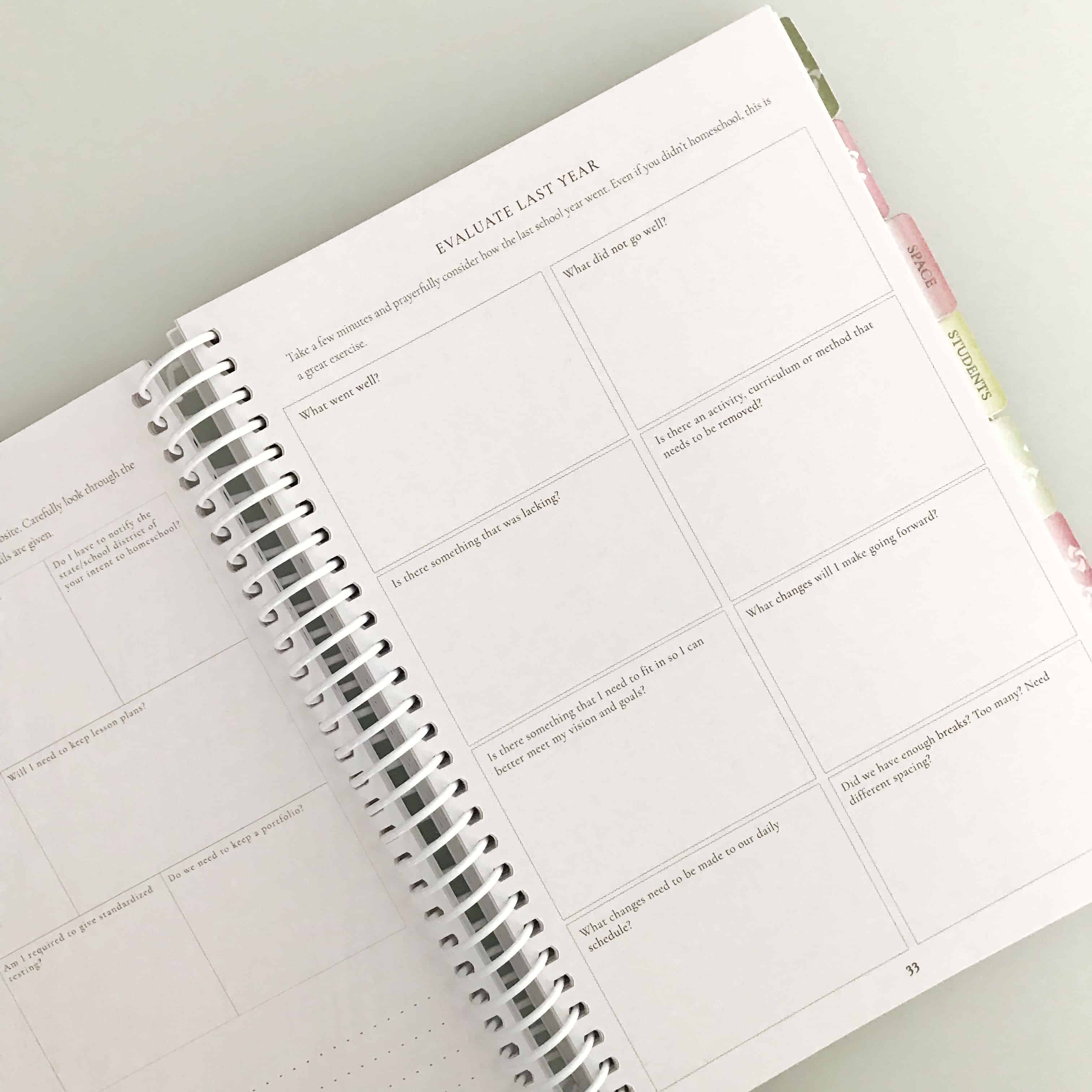 organized homeschool planner evaluate