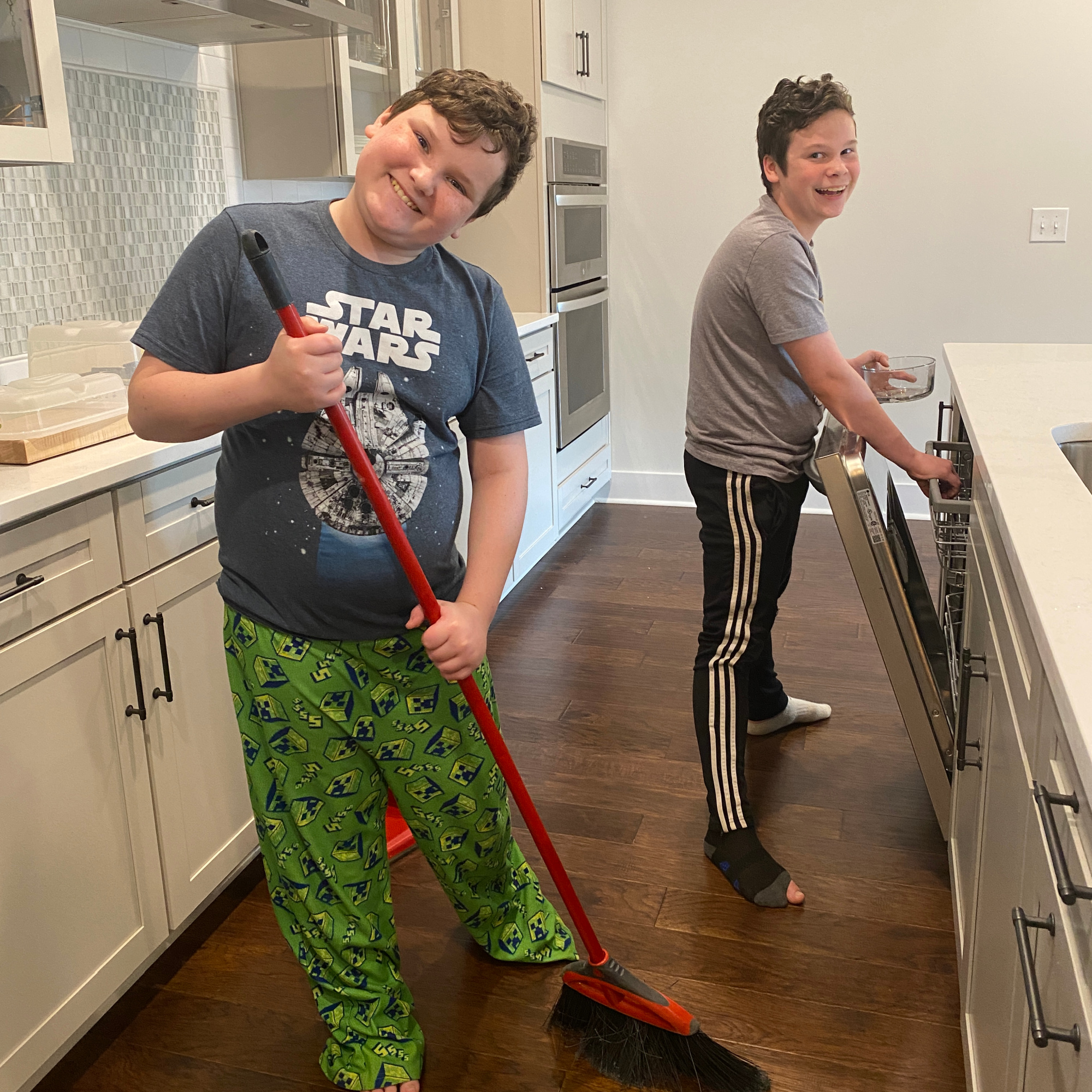 teens doing work chores